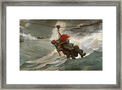 The Life Line Framed Print by Winslow Homer