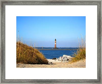 The Lighhouse At Morris Island Charleston Framed Print by Susanne Van Hulst