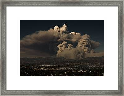 Framed Print featuring the photograph The Light At The Top Of The Smoke Cloud by Ron Dubin