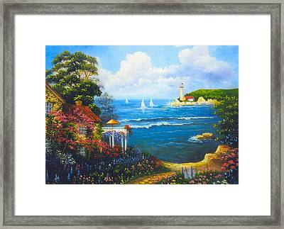 The Light House By The  Sea Framed Print by Jeanene Stein