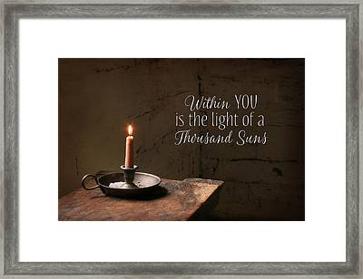 The Light Within You Framed Print by Lori Deiter