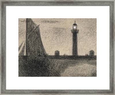 The Lighthouse At Honfleur Framed Print by Georges Pierre Seurat
