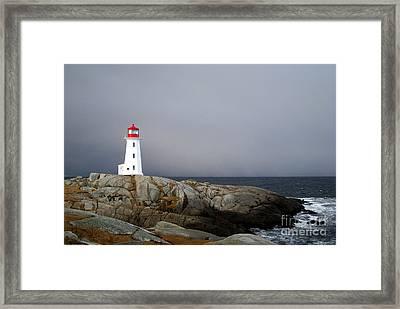 The Lighthouse At Peggys Cove Nova Scotia Framed Print by Shawna Mac