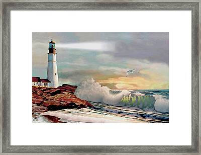 The Lighthouse At Portland Head Framed Print by Ron Chambers