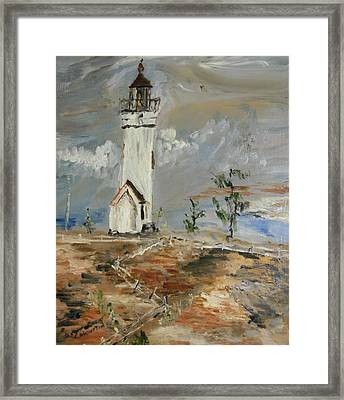 The Lighthouse Framed Print by Edward Wolverton