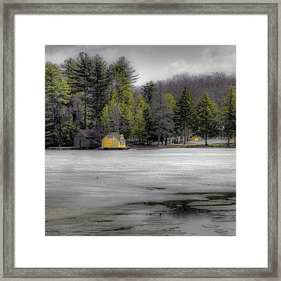 Framed Print featuring the photograph The Lighthouse On Frozen Pond by David Patterson