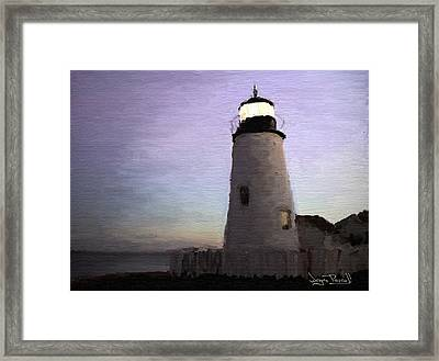 Framed Print featuring the painting The Lighthouse by Wayne Pascall