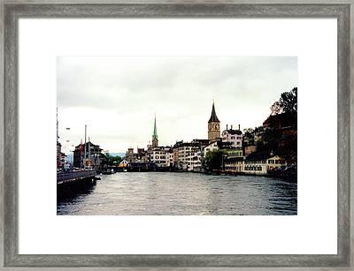The Limmat River In Zurich Switzerland Framed Print