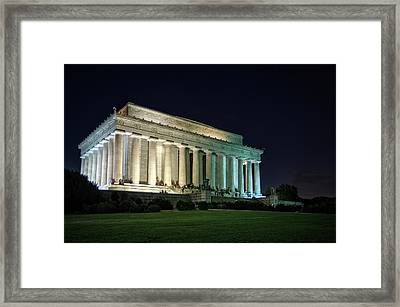 The Lincoln Memorial At Night Framed Print by Greg Mimbs