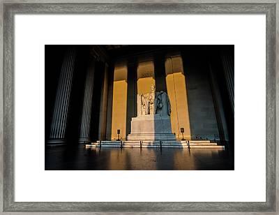 The Lincoln Memorial At Sunrise Framed Print by Sven Brogren