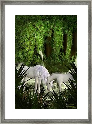 The Lineage Of Unicorns Framed Print by Emma Alvarez