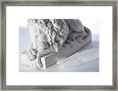 The Lion And The Feather Framed Print