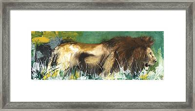 The Lion Framed Print by Anthony Burks Sr