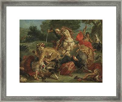 The Lion Hunt Framed Print by Ferdinand Victor Eugene Delacroix