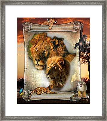 The Lion King From Africa Framed Print by Nadine May