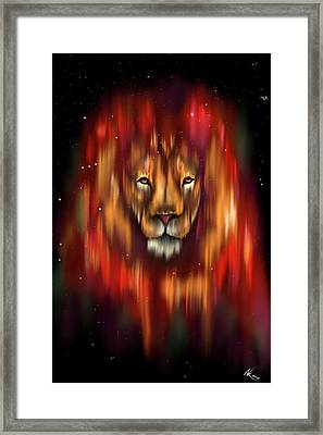 The Lion, The Bull And The Hunter Framed Print