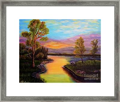 The Liquid Fire Of A Painted Golden Sunset Framed Print by Kimberlee Baxter