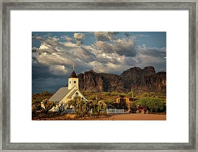 The Little Chapel In The Superstitions  Framed Print