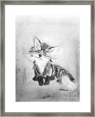 The Little Fox - Black And White Framed Print