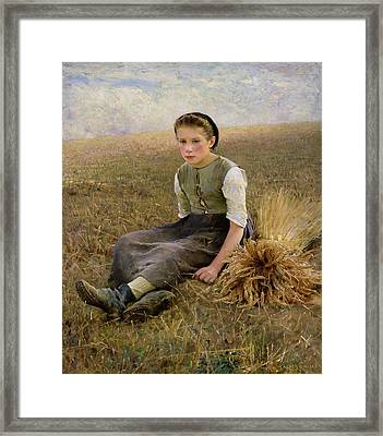 The Little Gleaner Framed Print by Hugo Salmson