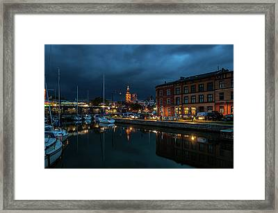 The Little Harbor In Stralsund Framed Print