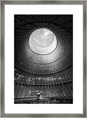 Framed Print featuring the photograph the little house inside the cooling tower BW by Dirk Ercken