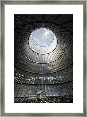 Framed Print featuring the photograph The Little House Inside The Cooling Tower by Dirk Ercken