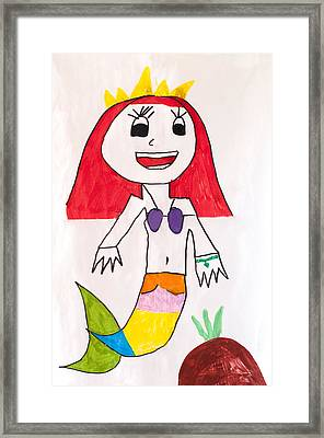 The Little Mermaid And The Pineapple Under A Dream Sea Through Children's Eyes Framed Print by Pedro Cardona