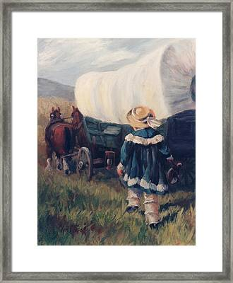 The Little Pioneer Western Art Framed Print by Kim Corpany