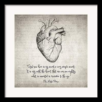Hearts Drawings Framed Prints