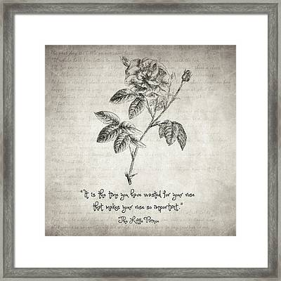 The Little Prince Rose Quote Framed Print by Taylan Apukovska