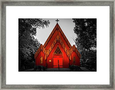 The Little Red Church In Black And White Framed Print