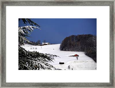 The Little Red Swiss Chalet - Winter In Switzerland Framed Print by Susanne Van Hulst