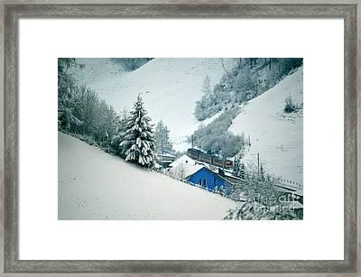 The Little Red Train - Winter In Switzerland  Framed Print