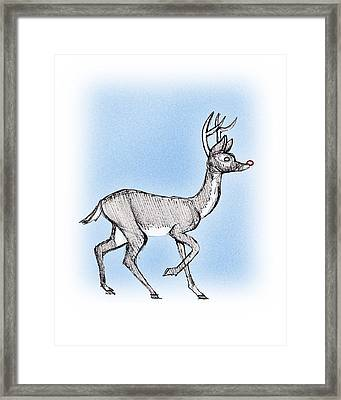 Framed Print featuring the drawing The Little Reindeer  by Keith A Link