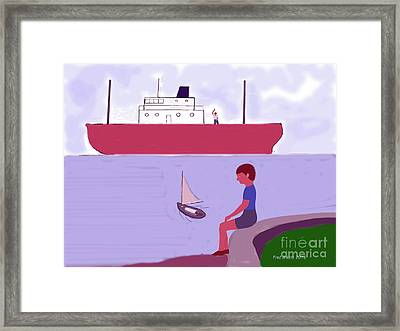 The Little Sailboat Framed Print by Fred Jinkins