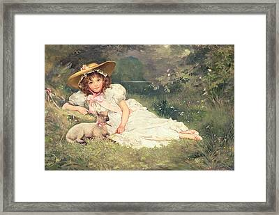 The Little Shepherdess Framed Print by Arthur Dampier May