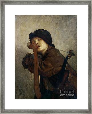 The Little Violinist Sleeping Framed Print by Antoine Auguste Ernest Hebert