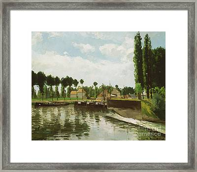 The Lock At Pontoise Framed Print by Camille Pissarro