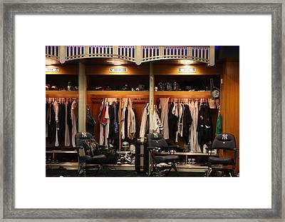 The Locker Room At Yankee Stadium Framed Print by Michael Albright