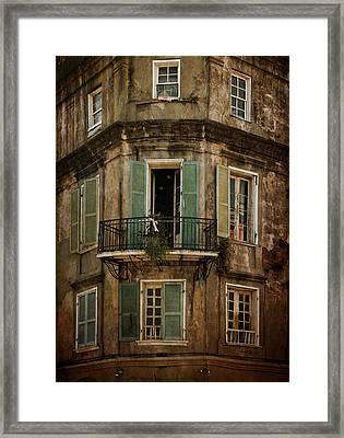 The Lone Balcony Of New Orleans Framed Print