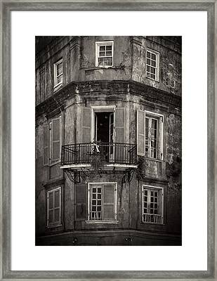 The Lone Balcony Of New Orleans In Black And White Framed Print
