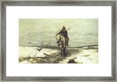 The Lone Hunter Framed Print by Jozef Brandt