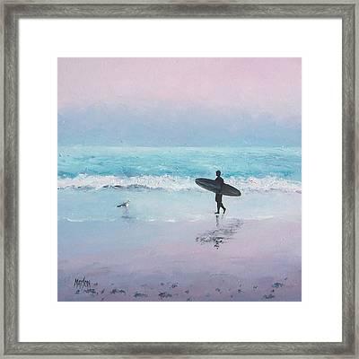 The Lone Surfer 2 Framed Print