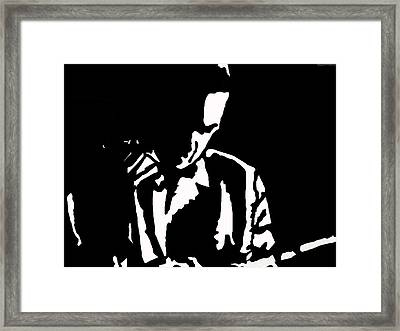Framed Print featuring the drawing The Lonely Jazz Player by Robert Margetts