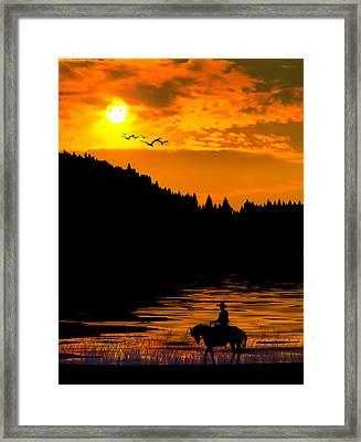 Framed Print featuring the photograph The Lonesome Cowboy by Diane Schuster