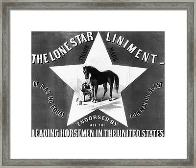 The Lonestar Liniment Framed Print by Bill Cannon