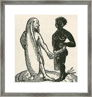 The Long Eared Man Scolds His Servant Framed Print by Vintage Design Pics