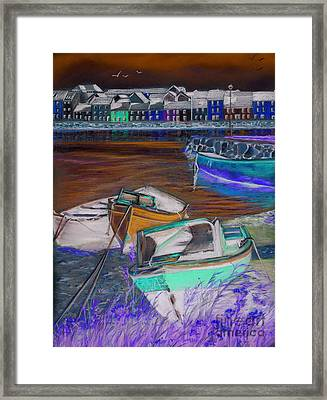 The Long Walk Galway As Viewed From The Claddagh Framed Print by Vanda Luddy