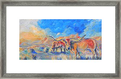 Framed Print featuring the painting The Longhorns by Jenn Cunningham